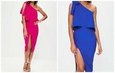 MISSGUIDED crepe one shoulder bow sleeve midi dress (M27/17)