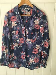 Marks And Spencer Indigo Collection Size 20 Blue Mix Blouse, Floral Pattern, Vgc