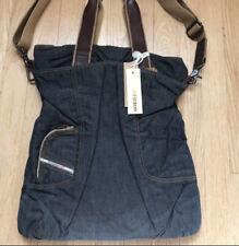 DIESEL INDUSTRY Denim Tote Bag Zip Closure Black Blue
