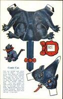 Mechanical Paper Cut-Out Comic Cat Vintage Postcard