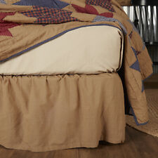"VHC Primitive King Bed Skirt Dust Ruffle Cotton Tan Plaid 16"" Drop"