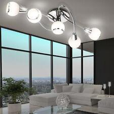 15 Watt LED Decken Leuchte Wohn Zimmer Chrom Lampe geschwungen Glas satiniert