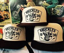 KNUCKLES TRUCKER HAT! knucklehead engine chopper vtg retro harley davidson biker