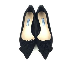 Prada Black Suede Tassel Pointed Toe Ballet Flats Shoes Size 37 New