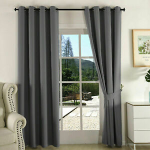 HOTEL QUALITY THERMAL BLACKOUT CURTAINS EYELET READY MADE RING TOP CURTAIN