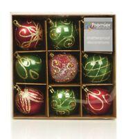 Christmas Tree Decorations Xmas Tree Baubles Glitter Gloss & Matt 9 x 60mm
