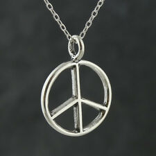 Peace Sign Necklace - 925 Sterling Silver - Pendant Hippie Symbol Anti-war NEW