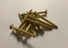20 x Solid Brass Countersunk  Slotted Wood Screws 6g x 1 1/2""