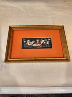 Chinese Etching with Gold Silver Ducks Framed Art Signed