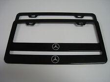 "2 Brand New MERCEDES-BENZ ""LOGO"" BLACK Metal License Plate Frame Front&Rear"
