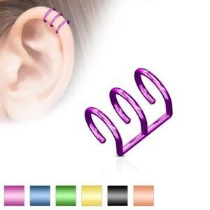 False Piercing Ear Cartilage Plated Titanium Triple Rings