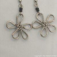 Maasai Market Africa Kenya Jewelry Silver Wire Masai Bead Flower Earrings 706-52