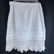Vintage White Skirt RIVA Cotton Lace Boho Yoga Beach Elastic Waist Medium