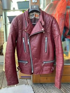 vintage WOLF burgundy leather motorbike jacket 38-40 motorcycle biker punk rock