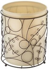 Floral Wire Bathroom Waste Bin Trash Can Garbage Basket Elegant Design Bronze