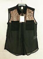 Vila Simona Bronze Sequin Black Blouse Size S rrp £30 CR092 DD 03