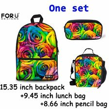 Colorful Rose Bags Girls School Bag Lunch Bag Pencil Case One Set Back To School