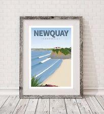 A3 Cornwall Retro Arte Surf Newquay junto viajar cartel impresión Vintage