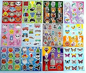 Childrens Stickers Sticker Sheets Party Bag Fillers Craft Kids Reward Charts