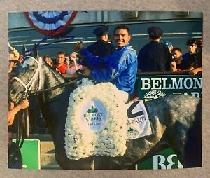 LUIS SAEZ SIGNED 8x10 PHOTO HORSE RACING 2021 BELMONT STAKES ESSENTIAL QUALITY