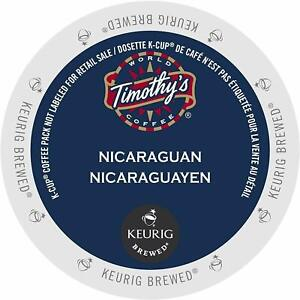 Timothy's Nicaraguan Fair Trade Coffee 24 to 144 Keurig K cups Pick Any Size