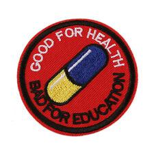 "Japanese Akira Kaneda Good For Health, Bad For Education Iron On 2.5"" Patch"