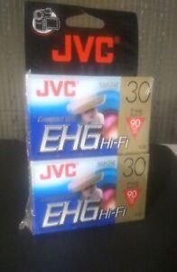 NEW - 2 JVC TC-30 EHG VHS-C Hi-Fi 90 MINUTE BLANK COMPACT VHS CAMCORDER TAPE