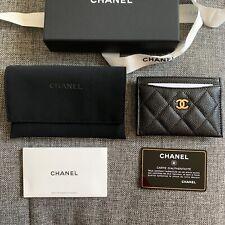 CHANEL Leather Caviar Black Card Case Cardholder Gold CC NWB