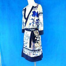 ETOILE DU MONDE Damen Kleid Wickelkleid Gr 1 36 Muster Gürtel Halbarm Np 199 Neu
