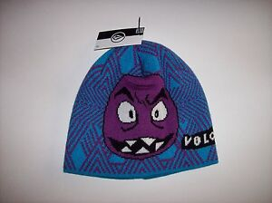 Volcom Hat Knit Face Beanie Unisex Kids Purple Orange Yellow Gray New