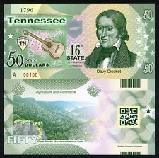 USA States, Tennessee, $50, Polymer, ND (2015), P-N/L, UNC > Davy Crocket