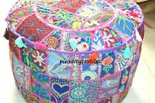 "Patchwork Seat Pouffe Ottoman Cover 18"" Small Multi Vintage Footstool Pouf Cover"