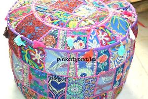 """Patchwork Seat Pouffe Ottoman Cover 18"""" Small Multi Vintage Footstool Pouf Cover"""