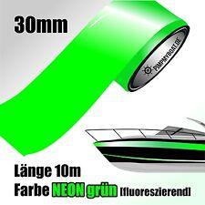 ZIERSTREIFEN 10m NEON GRÜN  - Fluorescent 30mm Auto Boot Jetski Dekorstreifen 30