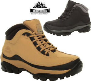 Mens Groundwork Safety Work Boots Leather Steel Toe cap Work Shoes Hiker Trainer