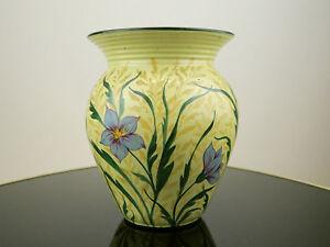 Wunderschöne Jugendstil Keramik Vase mit handgemaltem Blumen-Dekor