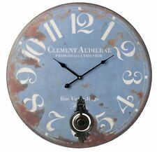 Shabby Chic Battery Operated Wooden Blue Metal Pendulum Wall Clock 58cm