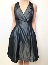 CUE metallic gunmetal grey sleeveless wrap look collared dress sz 6 fitted waist