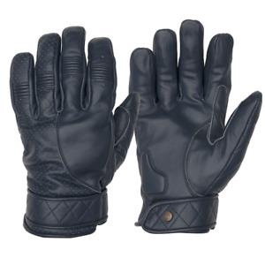 Goldtop Fleece Lined Blue Leather Short Bobber Cruiser Motorcycle Gloves - Mens