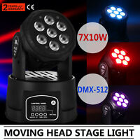 7X10W RGBW 4 in 1 LED Moving Head Light Beam DMX Stage Party DJ Lighting Xmax US
