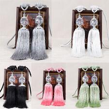 2PCS Curtain Holdbacks Rope Tie Backs Tassel Tieback Beaded Ball Room Home Decor