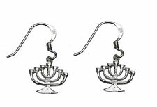 Menorah Hanukkah Jewish sterling silver 925 Earrings