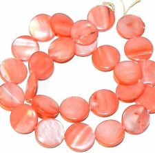 """MP680 Red 15mm Flat Round Coin Mother of Pearl Shell Gemstone Beads 15"""""""