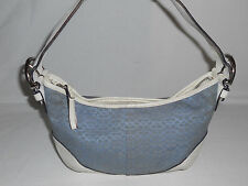 COACH 6351 Soho Small Signature Hobo Handbag Purse Blue/White