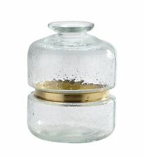 "New 9"" Hand Blown Art Glass Vase Bottle Clear Decorative"