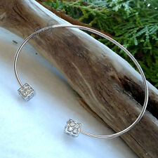 Stainless Steel Clear Crystal Cube Bangle Bracelet