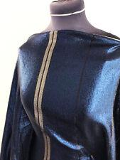 Couture tissu bleu royal/noir paillettes argent à rayures tissé polyester