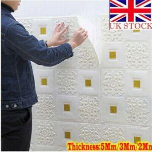 10X 3D Tile Brick Wall Sticker Self-adhesive Wallpaper Foam Panel Waterproof