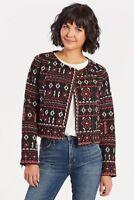 NEW Feathers by Tolani EVEREVE Womens Medium Embroidered Mandy Moto Jacket $158