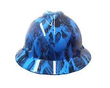 Hydrographic Blue Toxic Skull MSA V-Guard Full Brim Hard Hat
